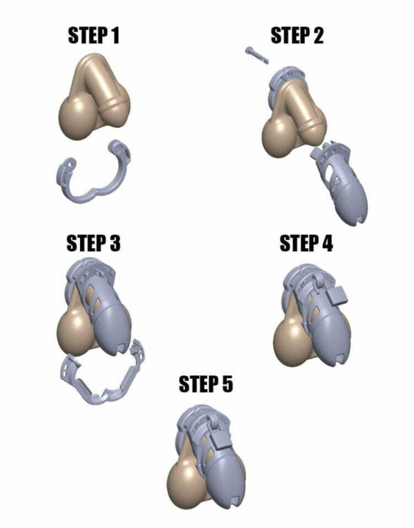 Five steps displaying the assembly process for The Vice Chastity Device